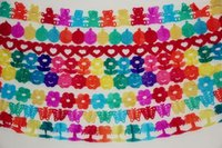Wholesale colorful handmade flower paper garland bunting paper flags home decoration birthday decoration about m each pc