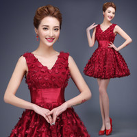 korean maternity dress - 2016 new spring fashion Korean bridal dress red shoulder toast clothing short paragraph banquet dress women