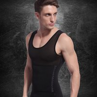 Cheap Wholesale-Fashion New White Black Color Men's Vest Tank Top Slimming Shirt Corset Body Shaper Fatty Underwear Wholesale Free Shipping