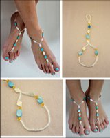 shell sandal - 2015 wedding Barefoot Handmade Beaded Jewelry Anklets Top Quality Summer Barefoot Sandal Stretchy shell Anklets