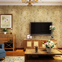 Wholesale American Pastoral Morning Glory D Silk Fabric Non woven Wallpaper Living Room Bedroom Restaurant TV Background Wall Paper Mural