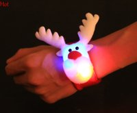 Wholesale 12pcs Slap Bracelet Christmas Reindeer Reflective Wristband Slap Plush LED Light Slap Bracelet Gift Party Christmas Red Waist Wrap SV027699