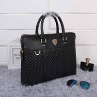 Wholesale Fashion black blue genuine leather briefcases men