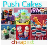cupcake boxes cake boxes - 2015 Push Cake Food grade Push Up Pop Containers push Cake Pop cake container for Party Decorations Round shape