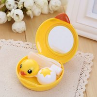 contact solution - 1x Yellow Baby Duck Contact Lens Case Mirror Tweezers Solution Care box Accessories Holder Hot sale