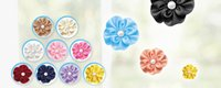 Wholesale Multi cols polyester satin ribbon flower with fake pearl flower heart polybag col