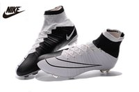 Wholesale Nike Mercurial Superfly FG mens high soccer shoes NIKE Flyknit black with white Boots Football shoes Cleats SIZE6