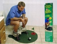 Wholesale New Arrival Funny Toilet Bathroom Mini Golf Mat Set Potty Putter Putting Game Men s Toy Novelty Gift ak071