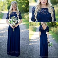 Wholesale Lace Top Chiffon Short Dress - 2016 Country Style Navy Blue Bridesmaid Dresses Sheer Crew Neck Lace Top Short Sleeves Chiffon Backless Long Maid of the Honor Dresses