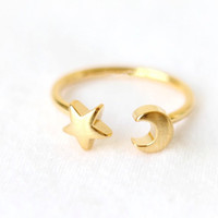 adjustable ring rose gold - 10pc New Fashon Gold Silver and Rose Gold Plated Adjustable Crescent Moon and Tiny Star Rings for Women JZ161