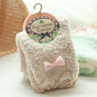 Wholesale MOQ pairs New Women Fuzzy Socks Cute Bowknot Decoration Warm Coral fleece Short Hosiery
