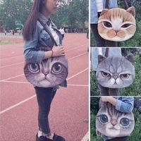 Wholesale New Womens Girls Cute D Cat Face Zipper Tote Shoulder Kids School Shopper Bag Handbag Children Bags GD JH21