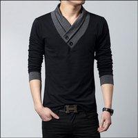 100% cotton plus size - 2015 New Arrival Men s Spring T Shirt Cotton Long Sleeve T Shirts Men High Quality V Neck T Shirts Plus Size XL XL M
