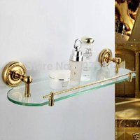 Wholesale Luxury Wall Mounted Single Glass Storage Rack Gold plate Bathroom Shower Commodity Shelf Bathroom Rack