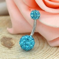 Wholesale Crystal Belly Button Navel Ring Disco Ball Surgical Stainless Steel Body Piercing Mix Colors mm mm Y52 MPJ031