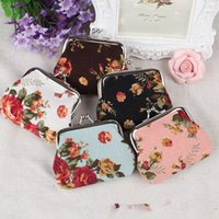 Wholesale Vintage flower wallets coin purses for women ladies canvas key holder wallet hasp small gifts bag clutch handbag christmas gift