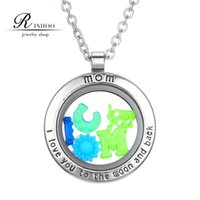 magnetic pendant - RINHOO New Glass Circle Magnetic mm Memory Floating Charm Locket Pendant Necklace DIY Jewelry Glow in the Dark For Mother Gift
