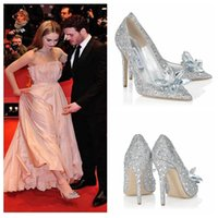 beaded pig - Cinderella Silver Pumps Beaded Formal Special Occasion Shoe Heroine Lily James High Heels Shoes Rhinestone Crystal Pointed Toe Wedding Shoes