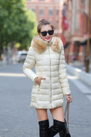 Wholesale Hot Fashion Women Clothes Winter Coat Raccoon Fur Collar Warm Coats Woman Long Outerwear Thicken Parkas Down Jacket For