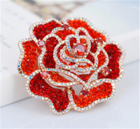 beautiful ladies tops - Top Grade Red Brooch Crystal Beautiful Rose Flower Brooches Pins For Lady Fashion Badge Christmas Gifts Girl Wear Women Accessories