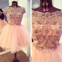 Real Images 2015 robe de soirée courte robe de corail rose Mini robe de soirée courte des cristaux perles Tulle Cheap sweet 16 robe de graduation