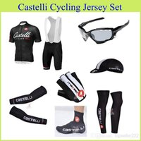 cycling jersey bib shorts - 2015 Cycling Jersey Set Short Sleeve Bib Padded Pants Cycling Clothing With Bib Set Arm Leg Shoes Cover Black Cycling Jerseys