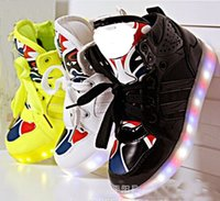 Wholesale Glitter USB Battery Charging Cheap Led Shoes Kids Kid Boys Girls Flashing Light Sneakers Children High Sneaker Lace Up L185