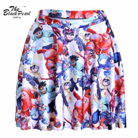animation line - Fitness S L Fahsion Sexy Women Elegant Animation cartoon Big Hero SKIRT LIMITED D Digital Printing Maxi Pleated Skirts FG1510