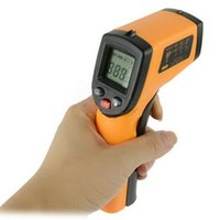 Wholesale Free DHL GM320 Non Contact Laser LCD Display IR Infrared Digital Temperature Thermometer C F Emissivity