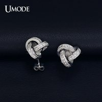 accent stud earrings - earring hook UMODE White Gold Plated Cubic Zirconia CZ Accent Inspired Twist Love Knot Stud Earrings UE0141