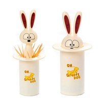 Wholesale Automatic dog Toothpick Holder piece Food grade ABS Cartoon pressing toothpick holder box table decoration Q