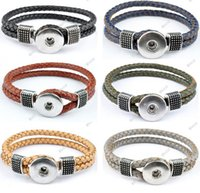 Wholesale P00046 newest design snap jewelry buttons snap noosa chunks leather bracelets for women