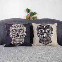 throw pillows square - 18 quot Retro Punk Skull Head Cotton Linen Throw Pillow Cushion Case Cover Square Decorative Pillows for Home Car Sofa