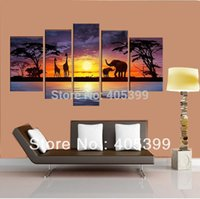 Cheap Beautiful Night Landscape Elephant Real Handmade Canvas Painting Wall Art ,Abstract Modern Landscape Oil Painting JYJLV242