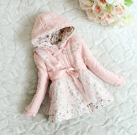 Wholesale Hot Winter Childrens Hoody Down Coat Girls Tulle Flower Bowknot Long Sleeve Clothing Kids Ribbon Butterfly Thick Coat color