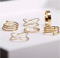 Cheap New Arrive Punk 14K Gold Plated Midi Rings Sets For women 100% Trendy
