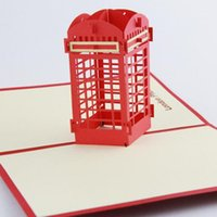 pop up booth - Qubiclife d London phone booth hollow three dimensional greeting cards souvenir card exit single D Handmade Card D Pop UP Gift Greet