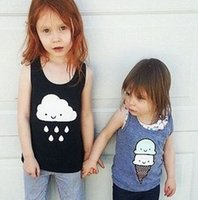 top brand t-shirts - Girls T Shirts Kids Clothes Sleeveless Cotton T shirt Summer Brand WHISTLE FLUTE Cute Ice Cream Clouds Printed Vest Tank Tops I2804
