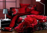 bamboo cotton bedding - 3D Bedding Sets Red Rose Flowers King Queen Size Duvet Cover Bedspread Cotton Comforter Bed Sheet Bedding Supplies