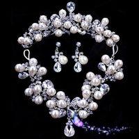 Wholesale Luxuriours Handmade Artful Pearl Wedding Jewelry Diamond Necklace Three piece Sets Beautiful Elegant Bridal Wedding Dress Accessories