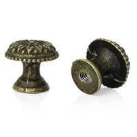 Wholesale Jewelry Box Case Drawer Pull Knob Handles Mushroom Antique Bronze Flower Pattern Carved mm x16mm new