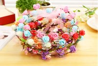 Wholesale Colorful Flower Wreaths Hair Paper Garland Silk Flowser Artificial Flowers For Wedding Decorative Flowers color