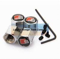 automobile wheel locks - 4caps automobile wheel tire tyre valve cover anti theft locking caps for black SLINE car badge valve kit