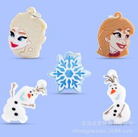 Cheap Frzoen Elsa Snow Queen Anna Princess Olaf DIY Charms Rainbow Loom Bands Pendant Children's Gifts Mixed Order