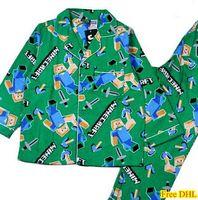 childrens wear - EMS Minecraft Pajamas Childrens Clothing Set Boys Cotton Sleepwear Green House Wear For T