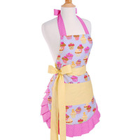 Cotton work apron - Frosted Cupcake Polka Dot Ruffled Yellow Striped Women s Original Flirty Kitchen Apron Cooking Cafe Nail Salon Work Apron