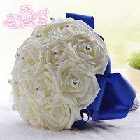 ribbon rose - Rose Artificial Bridesmaid Flowers Wedding Flowers Bridal Bouquets Royal Blue Silk Ribbon Handmade Wedding Accessories