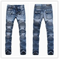 acid lights - Balmain men jeans BP Paris Catwalk Shows Stretch Men Pants Jeans Washed Acid Light Blue Biker Jeans BALMAIN Men Plus Size W28 W38