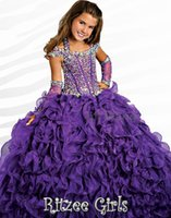 Wholesale 31 real photos crystal beads ball gown flower girl dresses for girls pageant dresses prom dress shine dress custom made