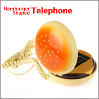 Wholesale New Hamburger Shaped Telephone Phone For the Home with LED In use Indicator Funny Novelty Item